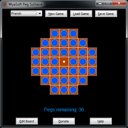 Screenshot of WyeSoft Peg Solitaire v1.00 - French/European board